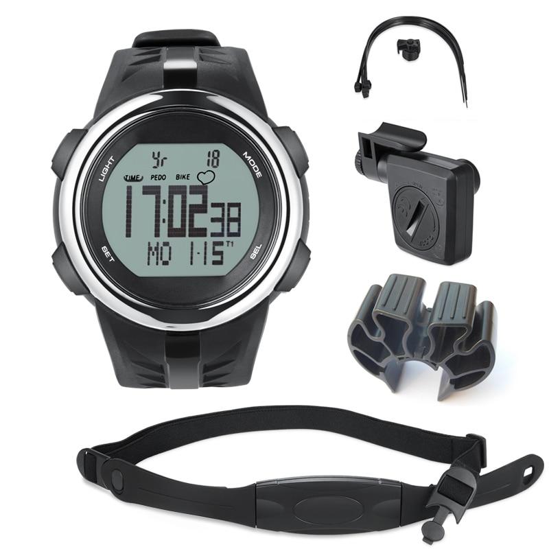 Часы наручные велосипедный компьютер беспроводной скорость ometer езда подножка скорость ometer сердечного ритма мониторинга калорий 3D сенсор ш...
