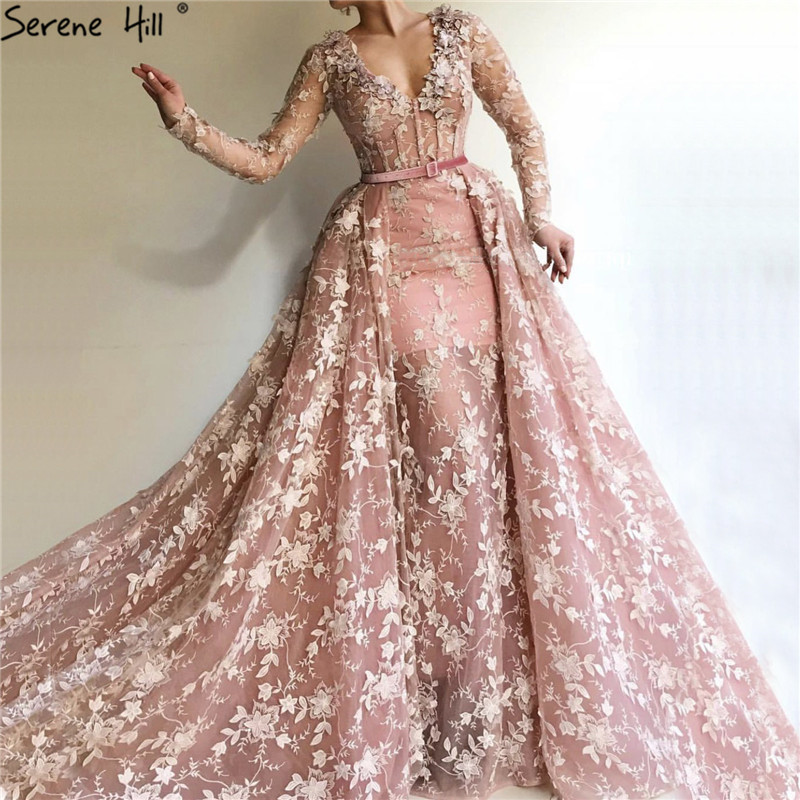 Dubai Pink Long Sleeves Tulle Evening Dresses 2019 Handmade Flowers V-Neck Sexy Evening Gowns Serene Hill LA60994