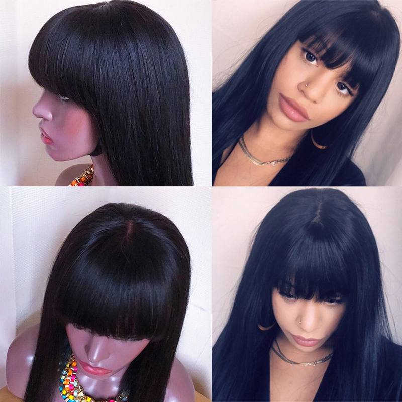360 Синтетические волосы на кружеве al парики с челкой 13x6 прямо Синтетические волосы на кружеве человеческих волос парики 250 плотность бразил... - 5