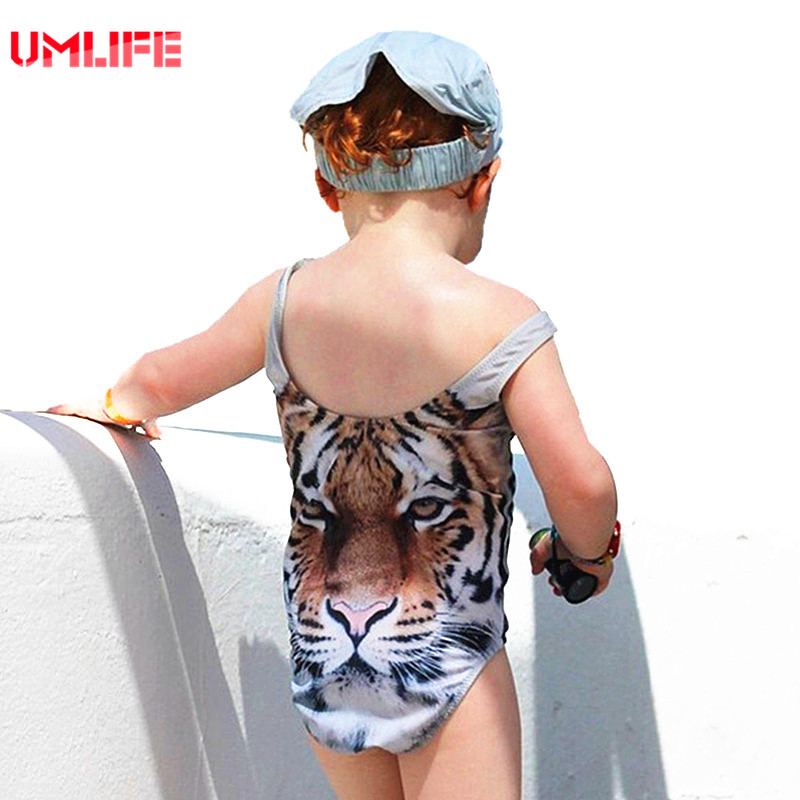 Baby Girl One Piece Swimsuit Child Swimwear 2017 Cute Animal Tiger Swimsuits For Kids 3d Swimwear Girls Bathing Suit Hot Sales 2014small little girl homemade parent child clothes for mother child bugs bunny cartoon one piece dress baby sweatshirt
