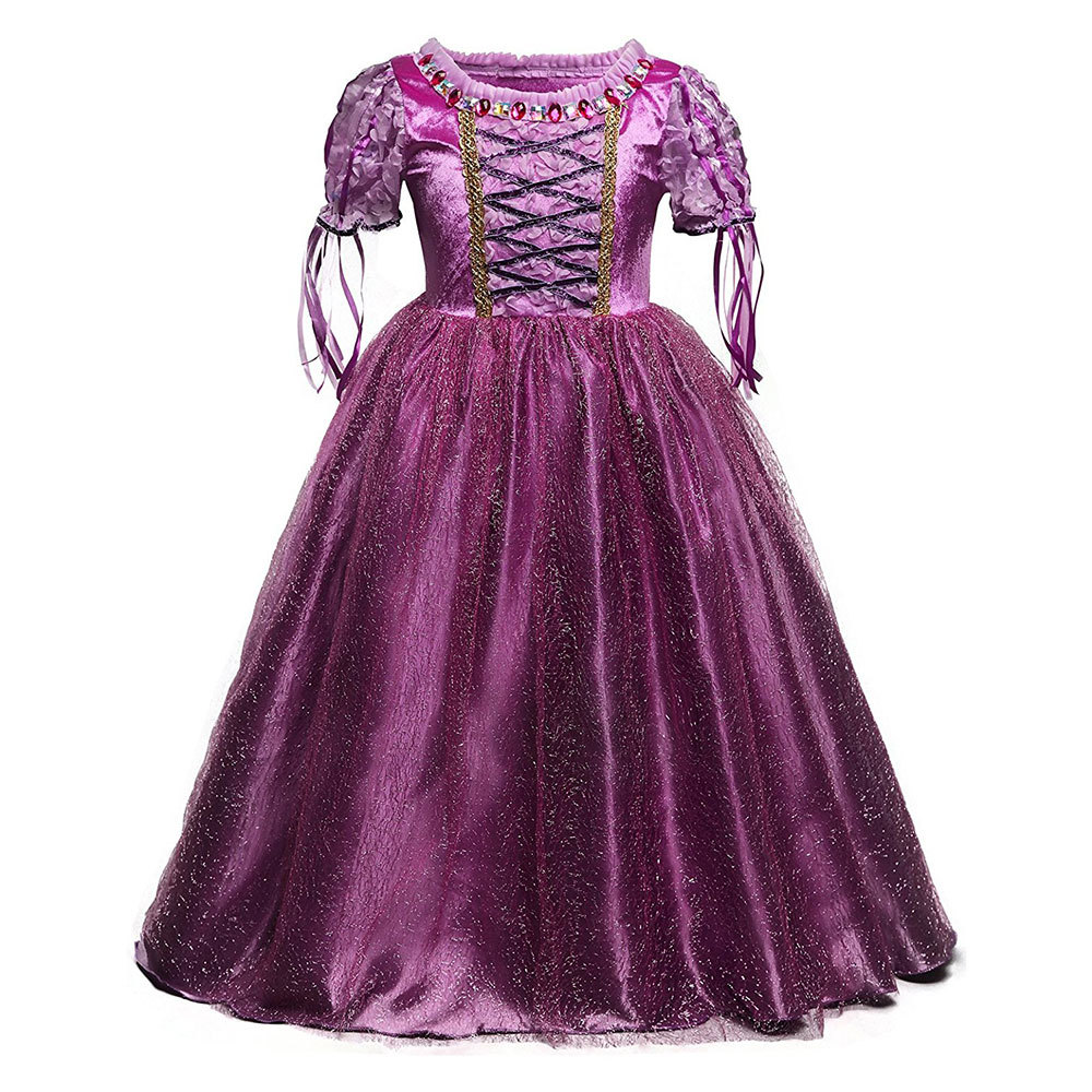 JAYLAY Princess Girl Dress Prom Gown For Teenage Girl Summer Kid Clothing For 4-10 Years Crystal Decoration Formal Occasion Outfit
