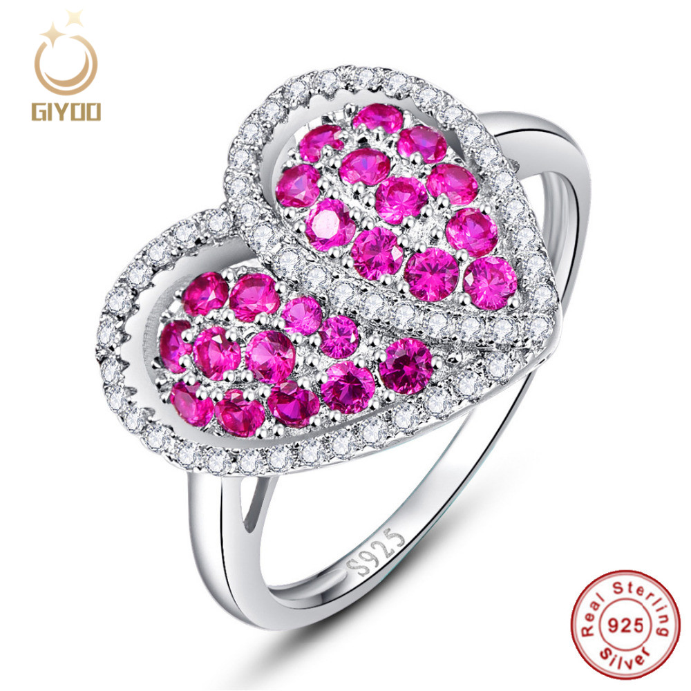 GiYOO Heart Design Gift Engagement Wedding Ring Solid Pure 100% 925 ...
