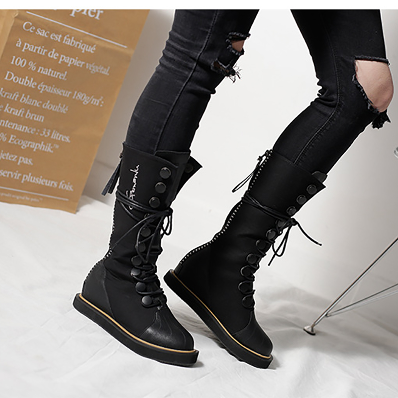 Mid Calf Boots Hidden Wedges 5cm Martin Boots Platform Women Shoes Black Flat Lace Up Fashion Ladies Gothic Winter Boots prova perfetto yellow women mid calf boots fashion rivets studded riding boots lace up flat shoes woman platform botas militares