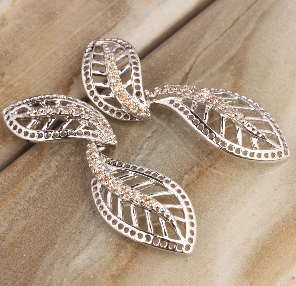 Cheerful Leaf Champagne Orange Morganite Multigems 925 Sterling Silver Drop Dangle Earrings S5421