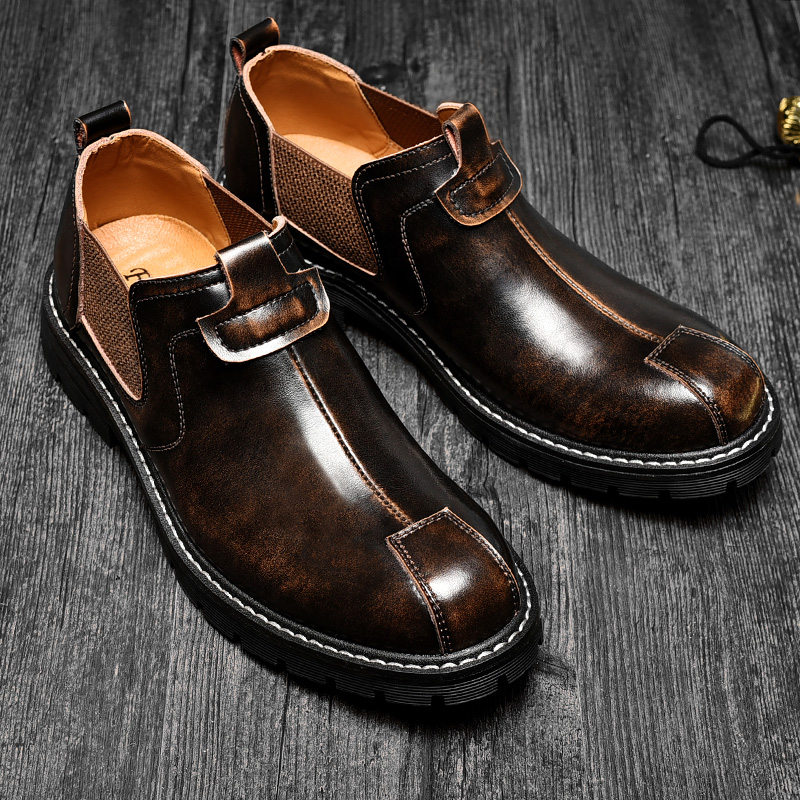 2019 new cowhide men 39 s shoes Korean version British black tide casual business dress mens shoes tooling leather boots Yasilaiya in Formal Shoes from Shoes