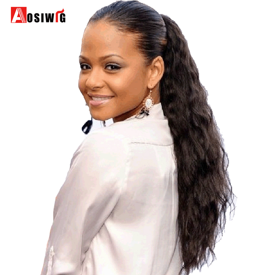 Aosi Wig Synthetic Ponytail Pony Tail Heat Resistant Fake -4662