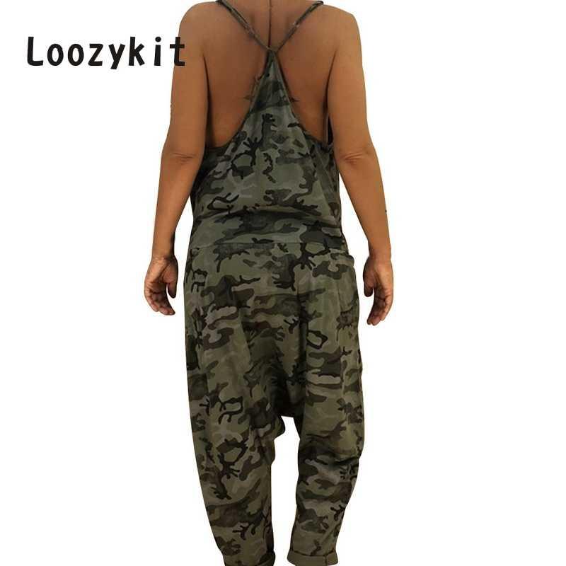 LOOZYKIT летние женские камуфляжные jumpitsuit соблазнительное длинное с открытой спинкой комбинезон ремень Свободный macacao feminino