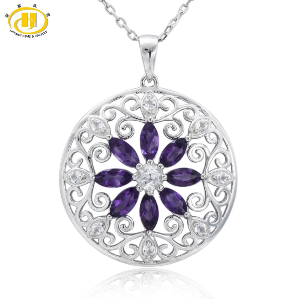 Hutang Stone Jewelry 2 42 CT Natural Amethyst White Topaz Solid 925 Sterling Silver Filigree Flower