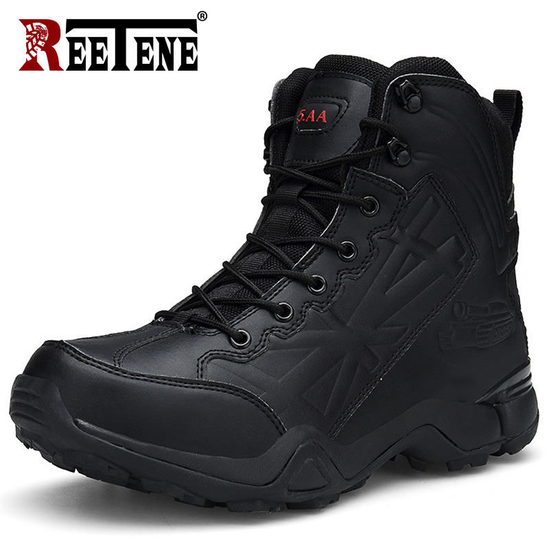 REETENE Men Desert Tactical Military Boots Combat Mens Ankle Boots Ankle Lace-Up Combat Boots Male Shoes Safety Motocycle Boots