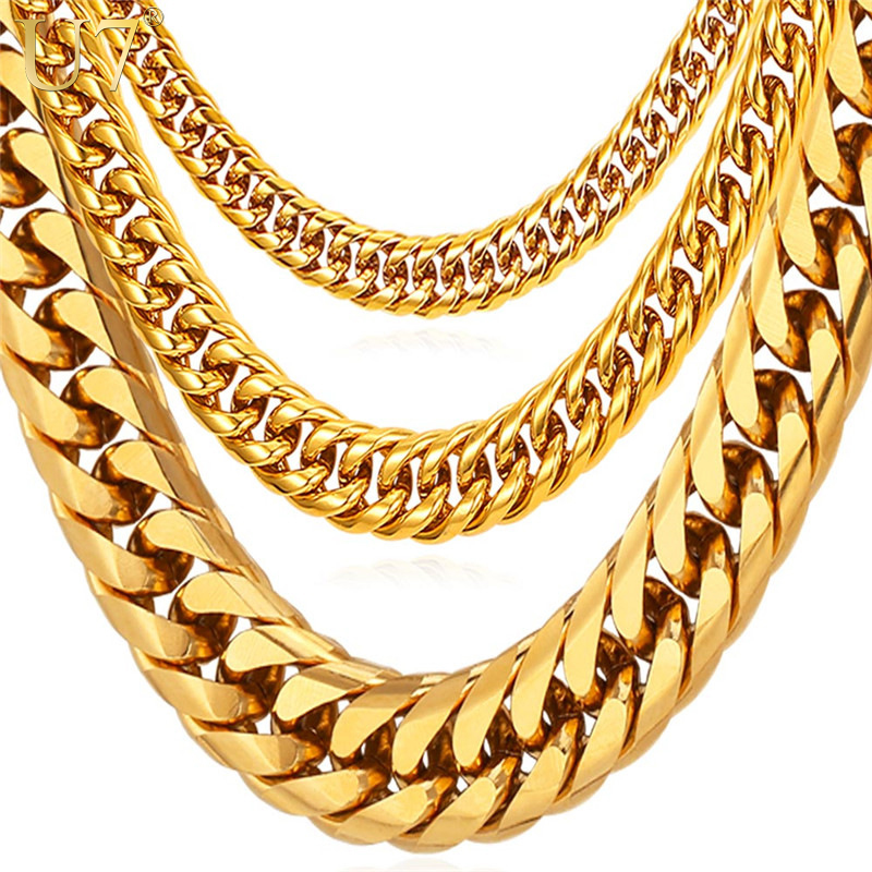 U7 Miami Cuban Chains For Men Hip Hop Jewelry Wholesale Gold Color Thick Stainless Steel Long Big Chunky Necklace Gift N453
