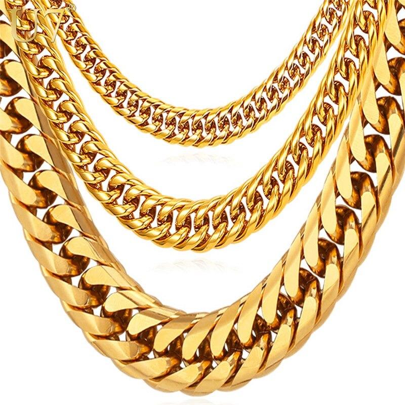 U7 hombres Miami cubano de cadena de enlace de Hip Hop de oro cadenas de joyería al por mayor de acero inoxidable grueso largo grande grueso collar regalo N453