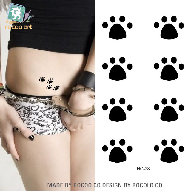 2 Sheets Small Fresh Tattoo Stickers Female Models Cute Bear Paw Print Tattoo Simple Disposable Waterproof Pattern HC1028