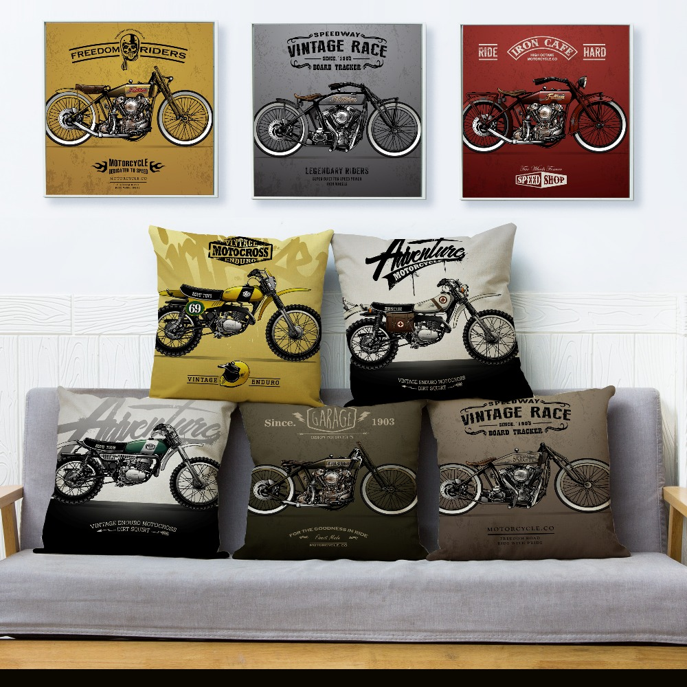 Vintage Cartoon Motorcycle Print Cushion Cover Beige Linen Pillowcase 45*45cm Square Throw Pillows Covers Home Decor Pillow Case