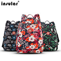 4 PC/Set Water Washing Nylon Fashion Multi-function Mummy Bag Cute Floral Printing Diaper Bags Women Mom Outdoor Backpack