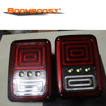 For Jeep Wrangler JK LED Black 2PCS Car Reversing Brake Turn Signal Tail Light Back Up Rearview Parking Lamps Assembly