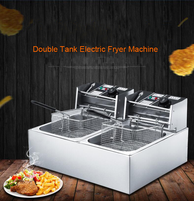 Stainless Steel double tank electric fryer machine 2.5KW 16L Electric Commercial Deep Air Fryer French Fries Fried Chicken Fryer stainless steel 2 tanks electric deep fryer commercial electric fryer french fries fried chicken deep frying furnace wk 82