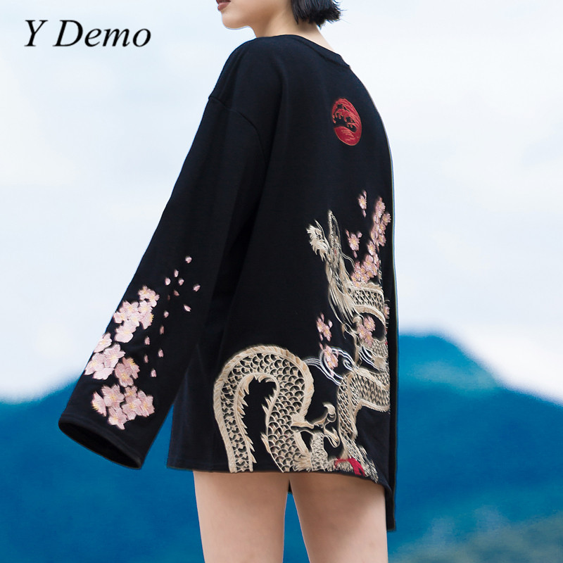 Harajuku Vintage broderie fleur pull Dragon Sakura broderie manches longues sweat