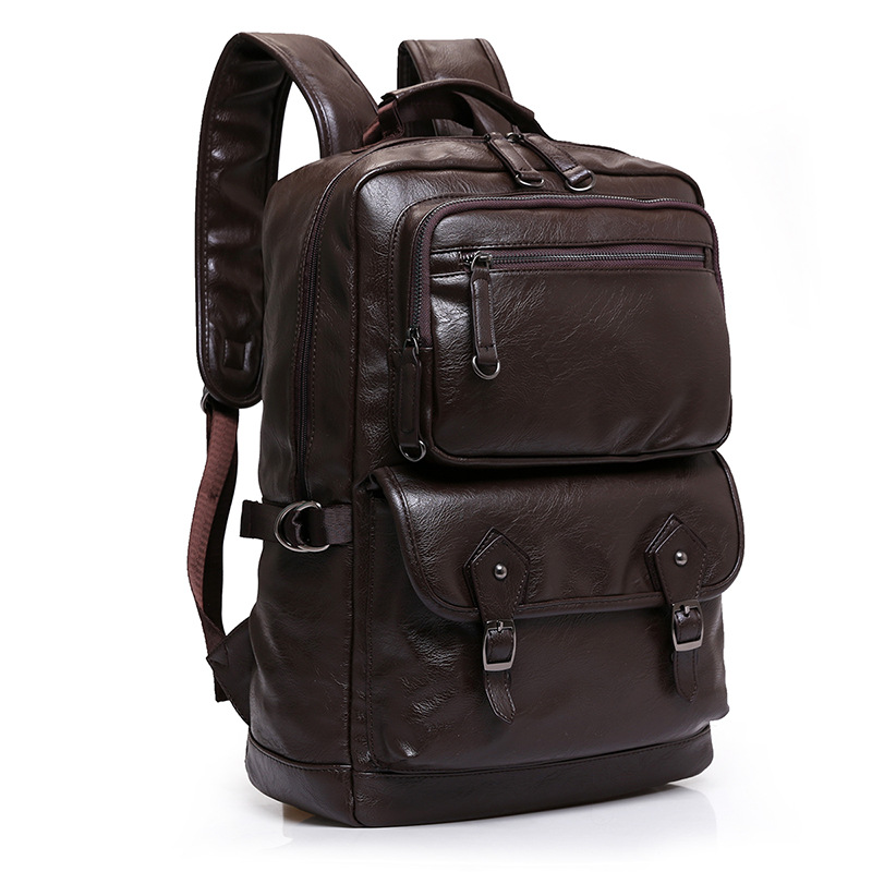 Cow Genuine Leather Men Backpacks New Fashion Real Natural Leather Student Backpack Boy Luxury Brand Large Computer Laptop Bag image