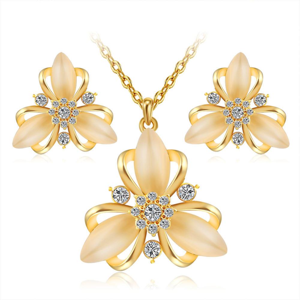Erluer Fashion Austrian Crystal Opal Jewelry Sets For Women Girl Gold Color  Wedding Bridal Necklace Earrings