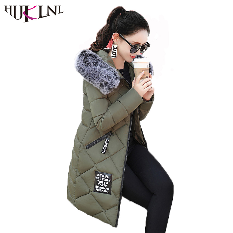 HIJKLNL Cotton-Padded Jacket Women Winter Long Thick Coat and Jacket 2017 Slim Letter Print Hooded Fur Collar Parka Mujer NA429 hijklnl women casual letter printed hooded long jacket 2017 winter thick coats female loose overcoat cotton parka mujer na340