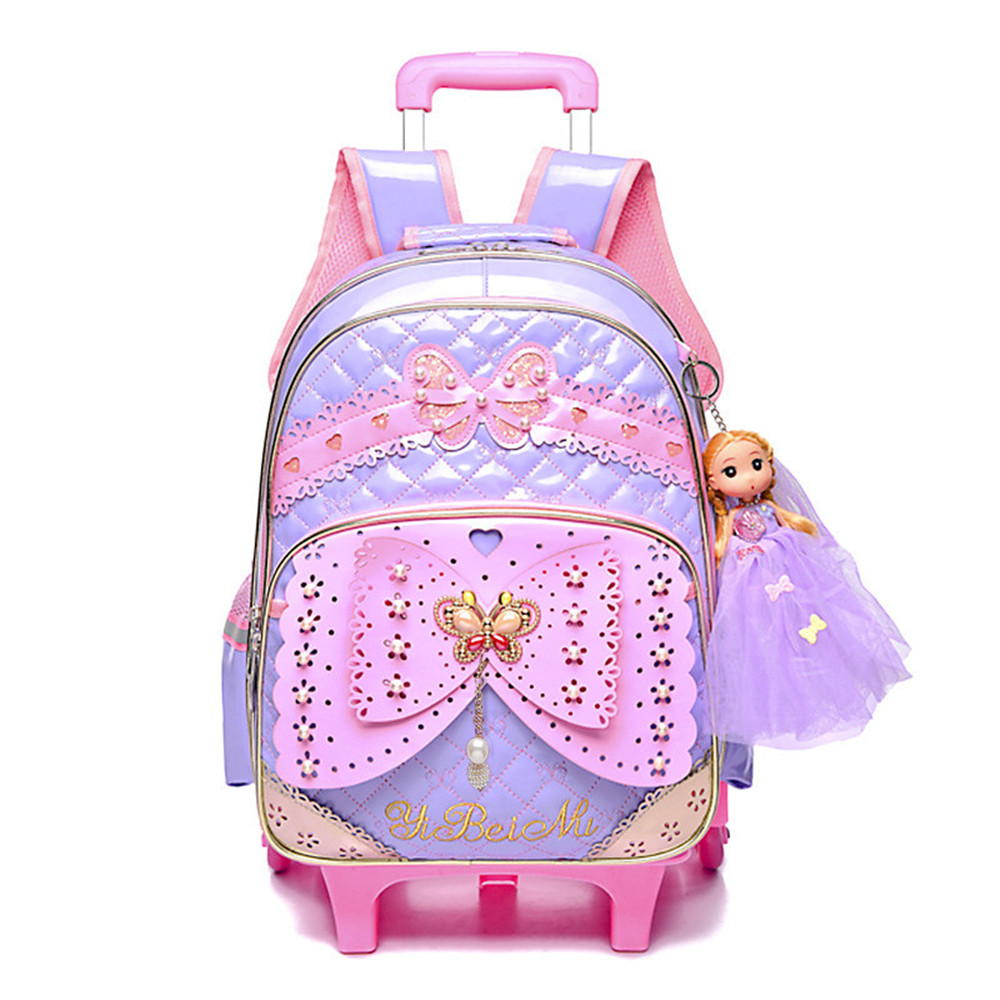 Kids girls Trolley Schoolbag Luggage Wheeled Book Bags Backpack Latest Removable Children School Bags With 2/3 Wheels Stairs grades 4 9 kids trolley schoolbag book bags boys girls backpack waterproof removable children school bags with 3 wheels stairs