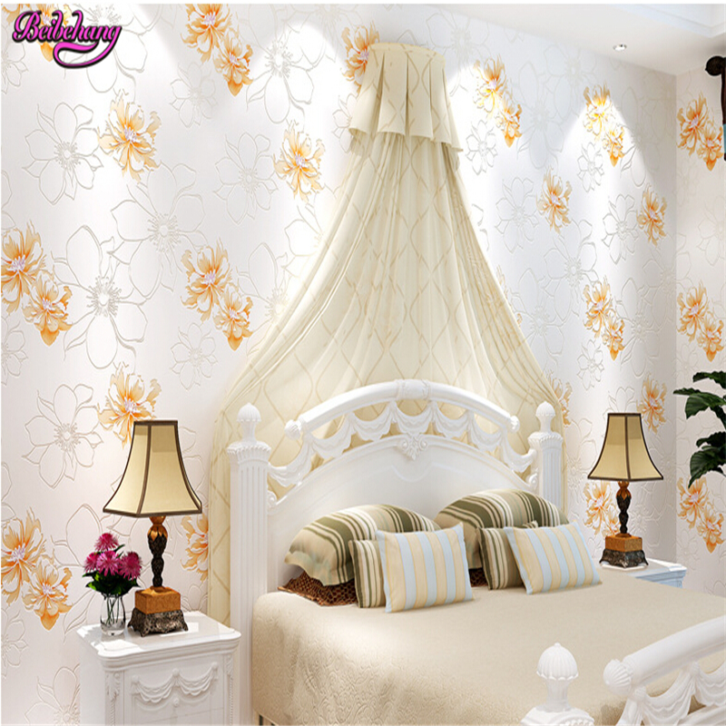 beibehang wall paper Simple threedimensional non woven warm pastoral pink large flower bedroom living room TV backdrop wallpaper