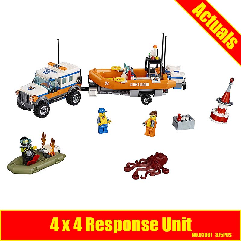 Lepin 02067 375PCS City Coast Guard Trailer Rescue boats Response Unit Compatible with 60165 Toy