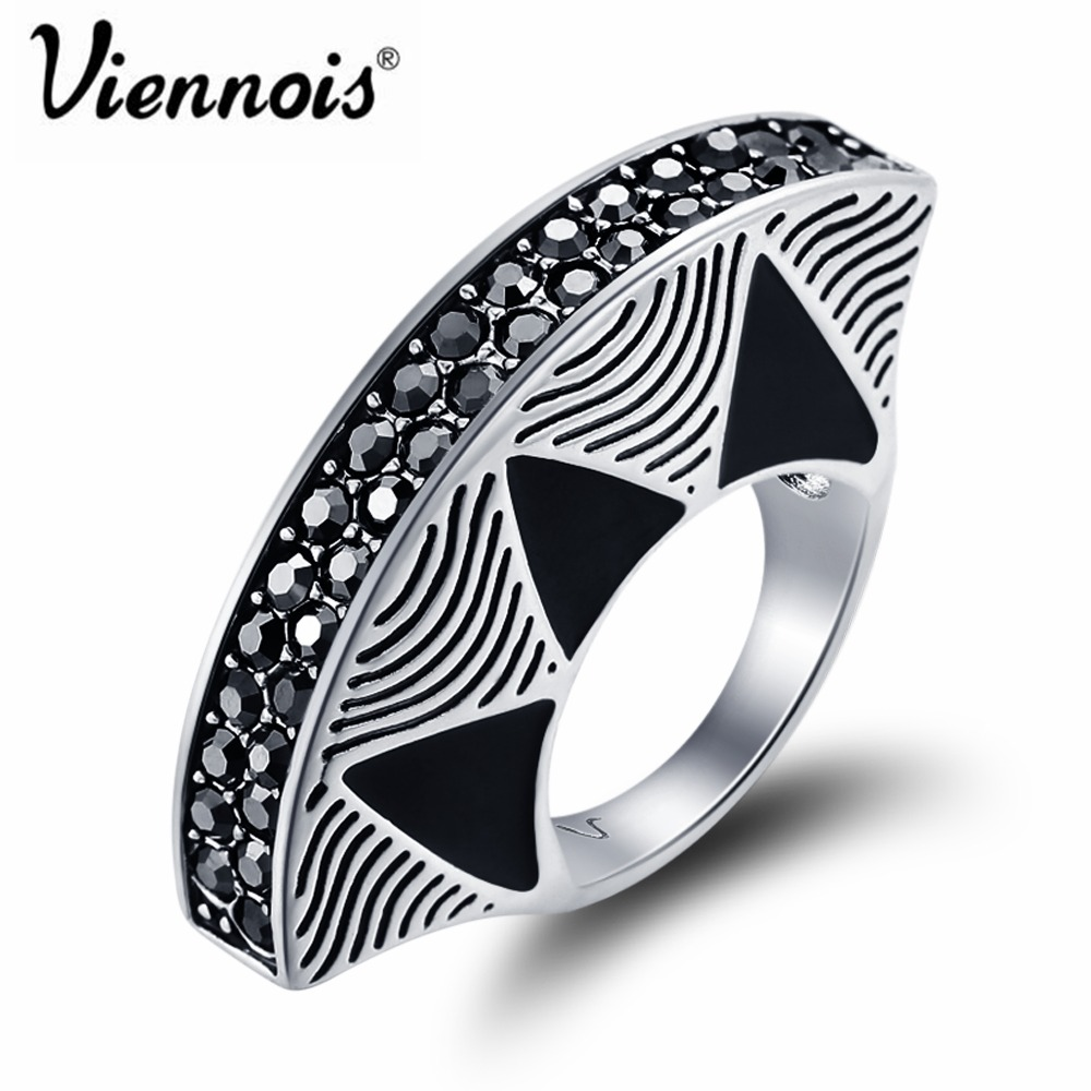 все цены на Viennois Fashion Jewelry Vintage Silver Color Fan Rings for Woman Black Finger Rings Full Rhinestone Paved Party Rings