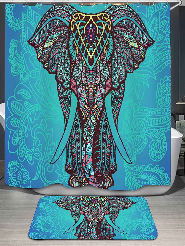 180*150cm 1Pcs Shower Curtains Bohemian Elephant Water Resistance Fabric Polyester Waterproof Home Bathroom Curtains Carpet Set