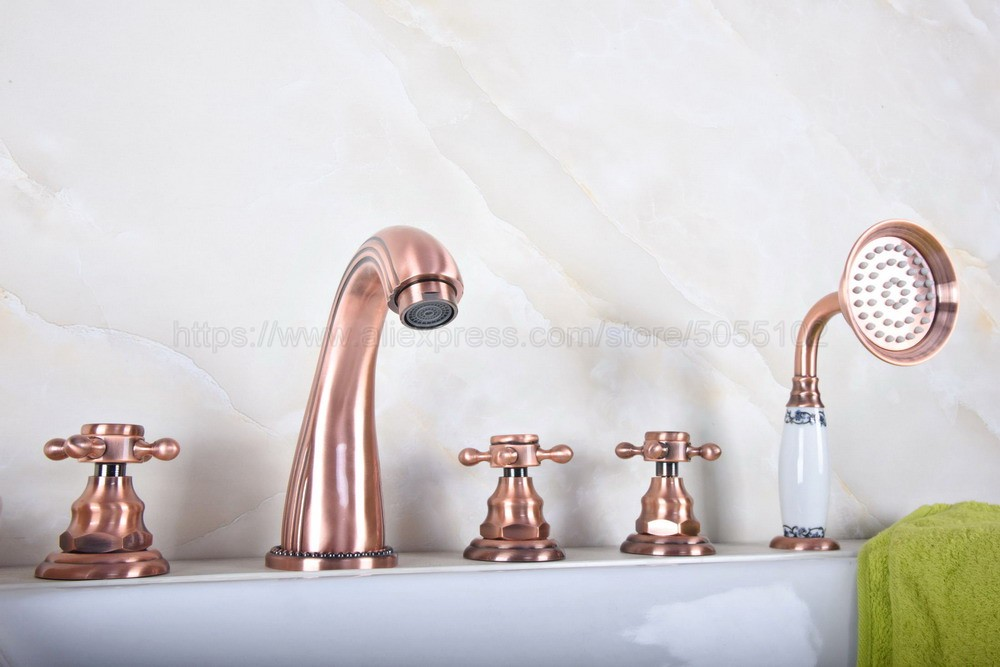 Antique Red Copper Bathroom Tub Faucet 3 handle 5 hole Deck Mounted For Hot And Cold Mixer Tap With Handshower ztf181