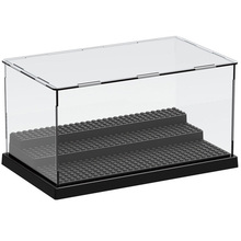 1pc 3 Steps Display Case/Box Dustproof ShowCase Gray Base For Blocks Acrylic Plastic Display Box Case 25.5X15.5X13.8cm недорого