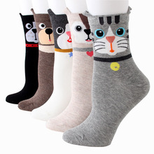 1Pairs New women socks chaussette Cute Cat Ankle vintage mujer short Socks Casual Animal Ear corap chaussettes femme