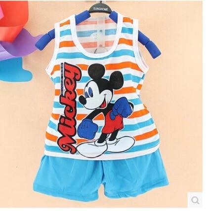 2018 Hot New Summer Children's Cotton Suit Children Vest Shorts Fashion Style Cartoon Girls Boys Sets 2