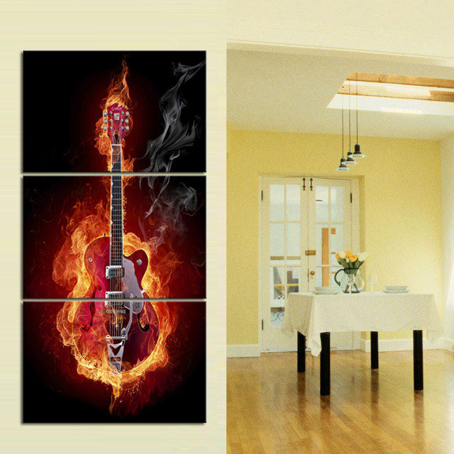 Online Shop Electric Flame Burning Guitar 3 Panel Large Vertical ...