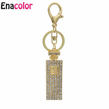 Linnor Twinkling Crystal Perfume Bottle Keychains Charm Gifts for Women Hang Purse Bag Pendant Car Key