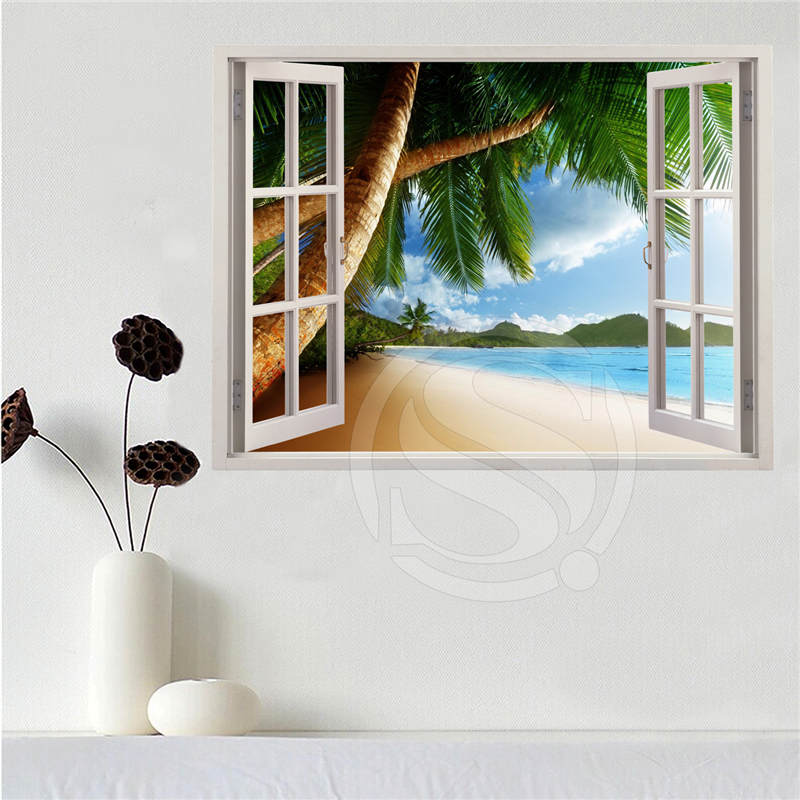 Custom canvas poster Beach of the Caribbean in the window poster cloth fabric wall poster print Silk Fabric Print SQ0611-LQ01 image