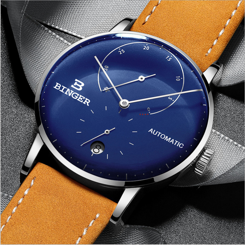 Novel 3D Curved Glass Watches for Men Cool Blue Fashion Dress Watch Self Winding Mechanical Wristwatch Waterproof Leather Montre đồng hồ binger bg54