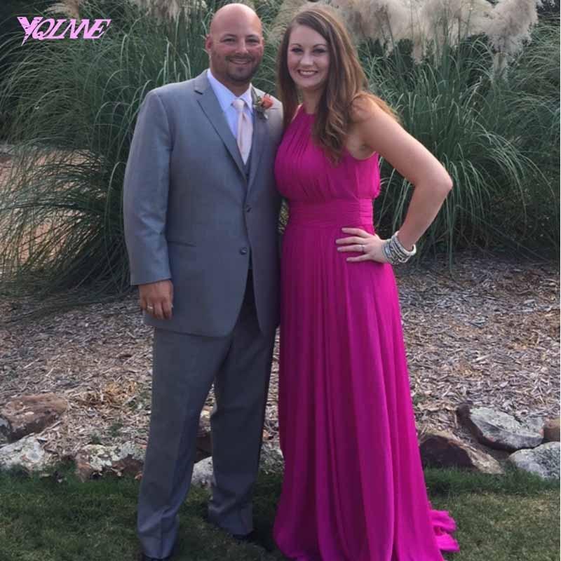 Baratos 2017 rosa rosa vestidos de dama de gasa largo vestido de ...