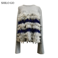 Шило GO меховой свитер женский зимний модный натуральный мех енота свитер с круглым вырезом длинный расклешенный рукав лаконичная Свободна
