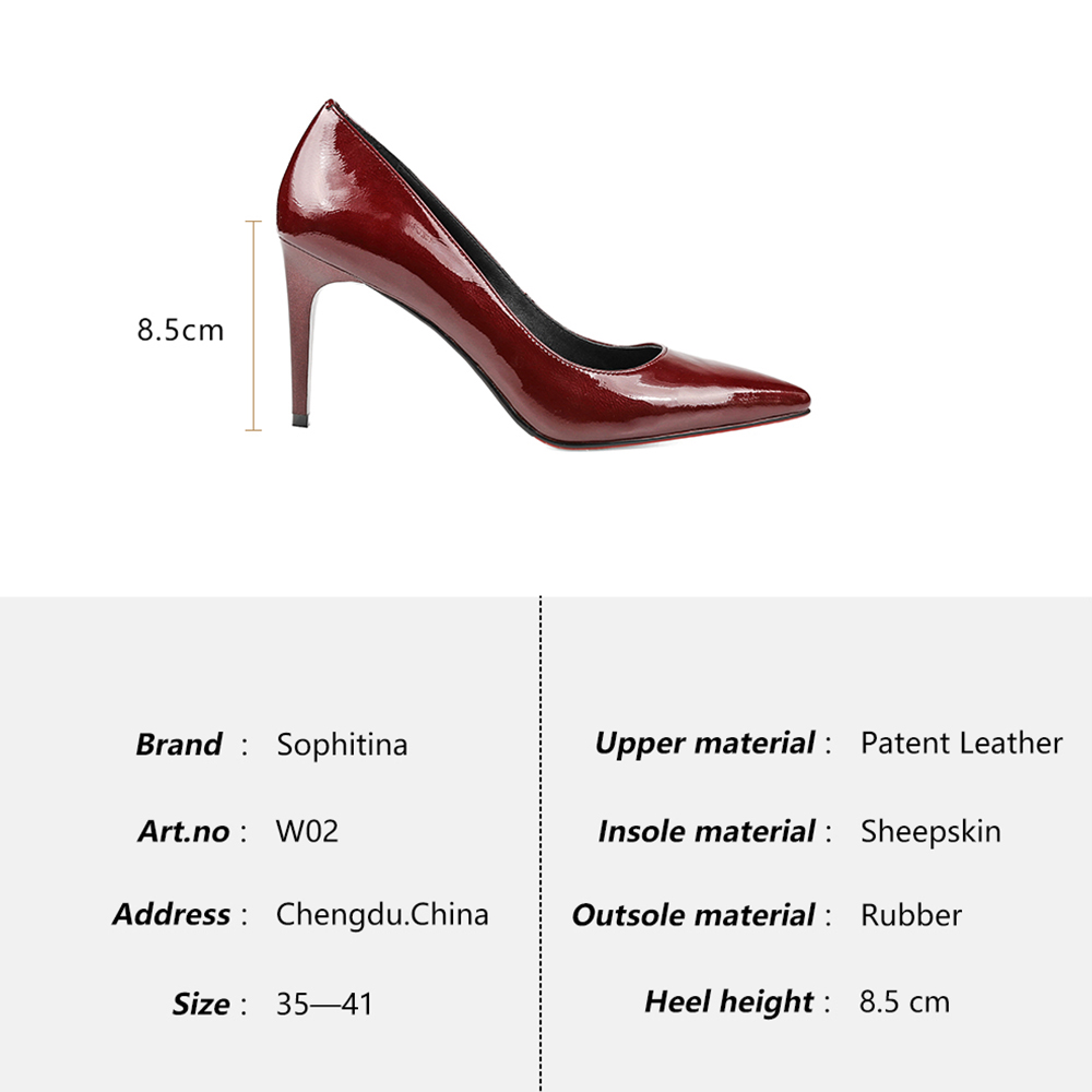 SOPHITINA Elegant Pumps Bordeaux Patent Leather Thin Heels Pointed Toe New  Girl Wedding Pumps High Heel Sheepskin Shoes Women W2-in Women s Pumps from  Shoes ... 61d55dcfc7ac
