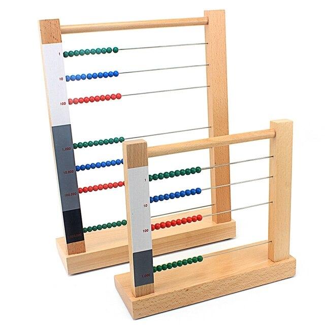 Niño de madera Montessori juguete Ábaco juguete computación Rack ciento diez cientos miles de juguetes para niños niñas