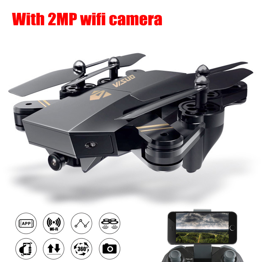 купить XS809HWG Foldable Selfie Drone With 2MP HD Camera Altitude Hold FPV Quadcopter kvadrokopter 120 Wide Angle WiFi Rc Helicopter по цене 3856.47 рублей
