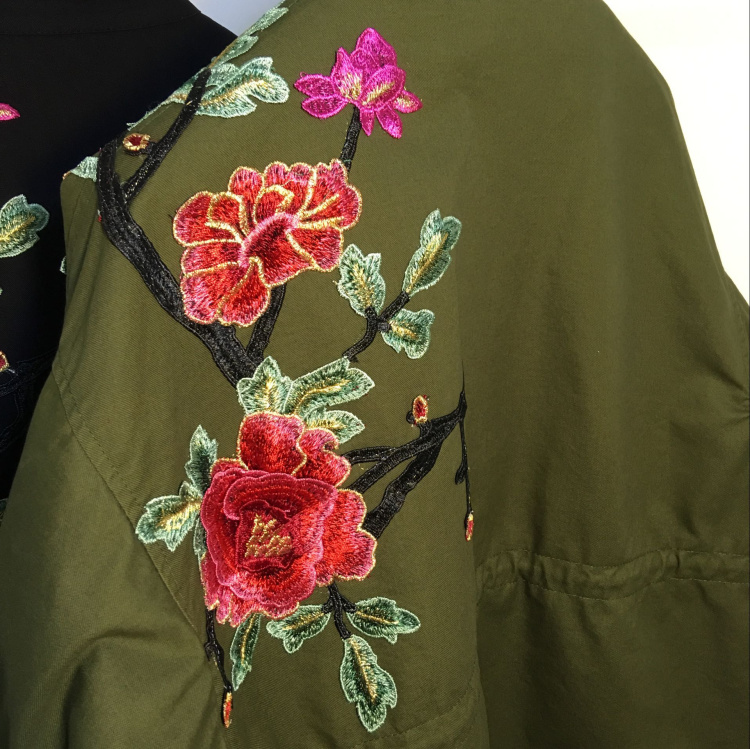 women embroidery loose plus size casual jackets