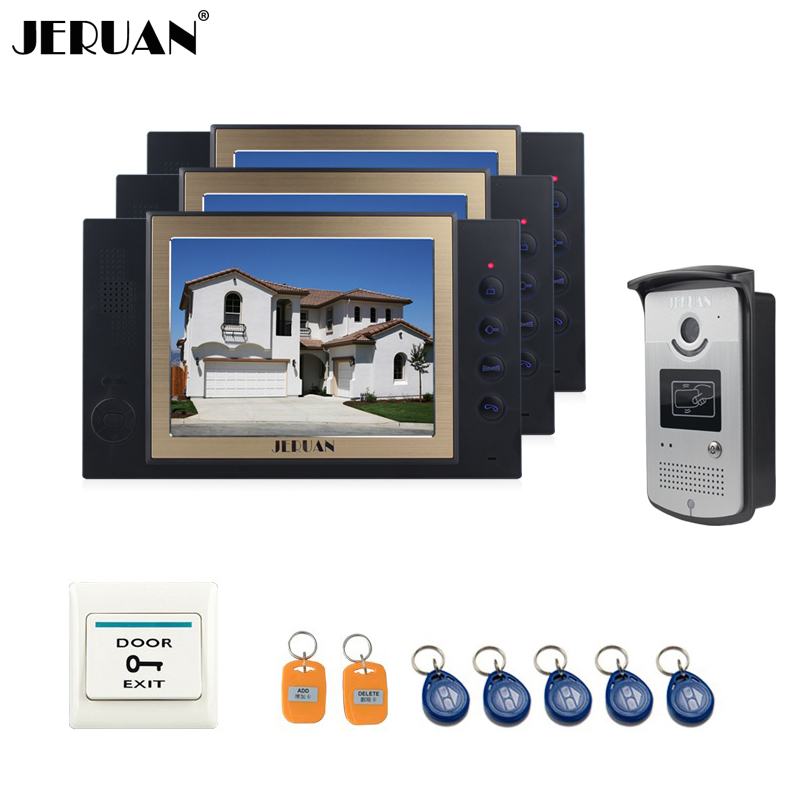 JERUAN 8`` video door phone doorbell intercom system with video recording photo taking access control system 3 house 1 outdoor jeruan home security system 2 outdoor 1 indoor with recording photo taking 8 inch video door phone doorbell intercom system