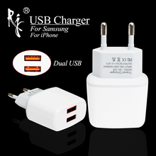 цена на 5V 2A EU Plug Dual USB Charger For Apple iPhone 5 5S 5C 6 6S 7 Travel Wall AC Phone Charger Adapter For iPad Samsung Xiaomi