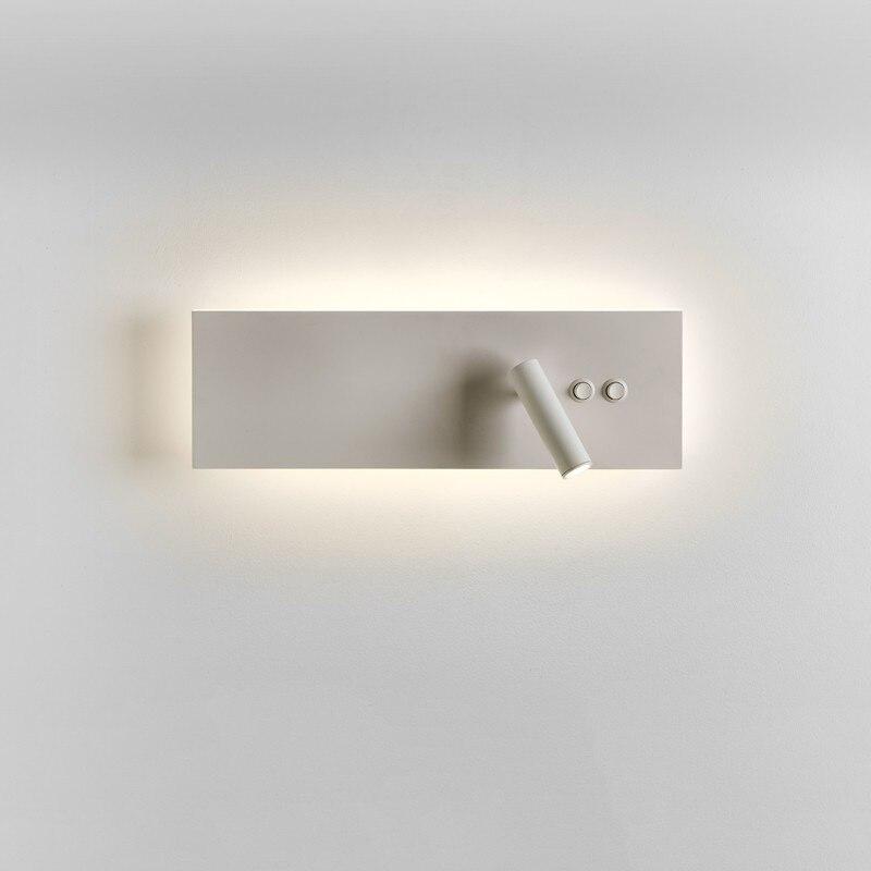 TopocH Lampe De Mur De Chevet Double Interrupteur LED Rétro-Éclairé avec Lecture Lumière Mat Noir/Blanc Horizontalement ou Verticalement Monté