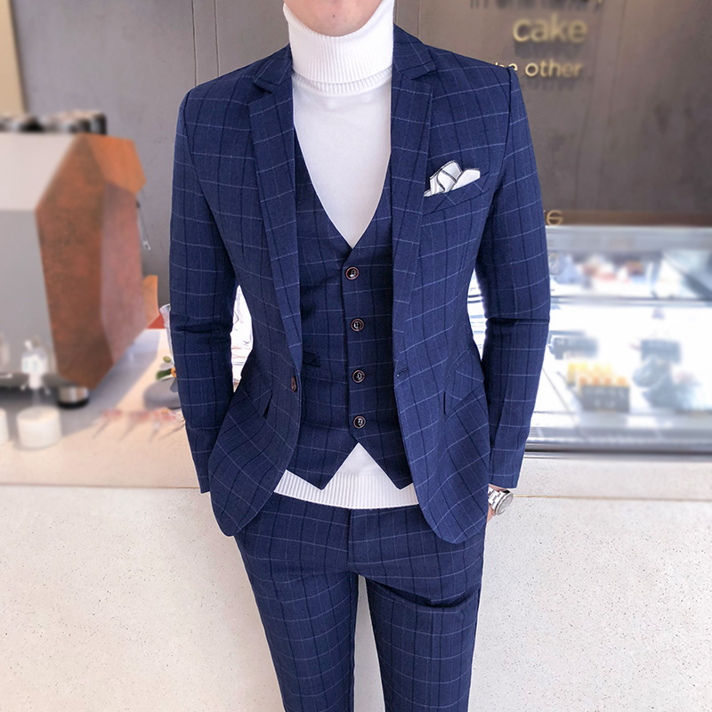 Classic Plaid Men's Suit Dress Slim Fit Tuxedo Wedding Evening Clothing British Style Checkered Formal Casual Suits Man Quality