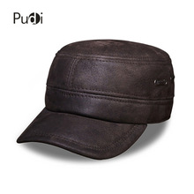 HL086 Mens genuine leather baseball cap brand new winter warm military real  caps hats