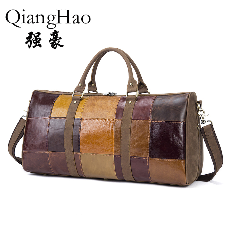 100 Genuine Leather handbag Vintage High capacity Travel Bag Crossbody Patchwork pattern quality Casual Messenger Travel