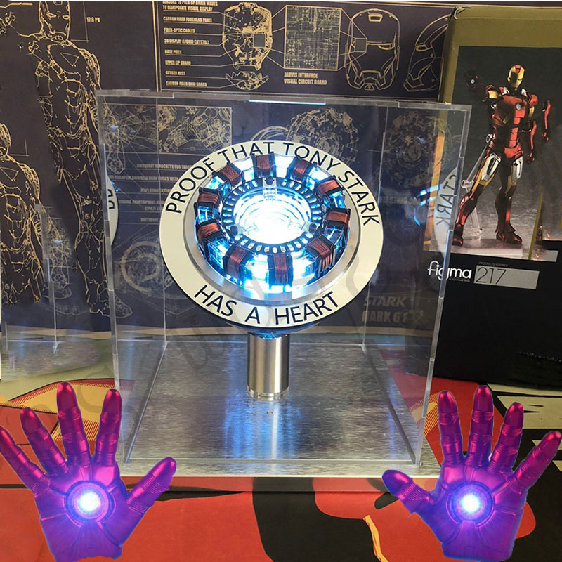 Iron Man Arc Reactor DIY Action Figure Toy With LED Light Iron Man Collection Arc MK Iron Man DIY Model Assembled Chest Lamp Toy